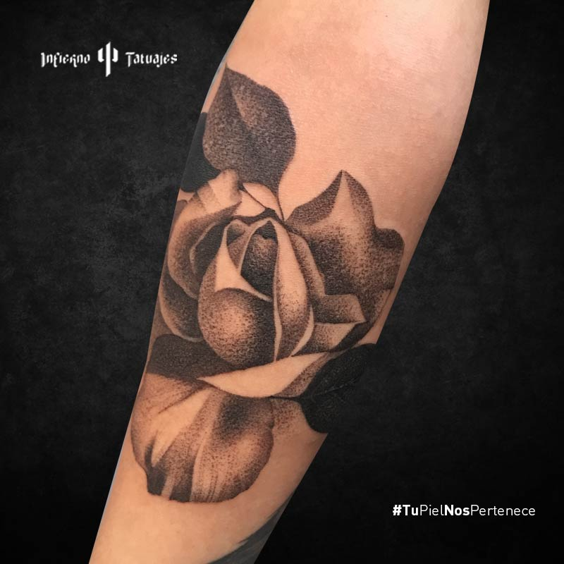 tatuaje de flor negra, tatuajes de flores en el antebrazo, tatuaje de rosa, estudios de tattoo, infierno tatuajes