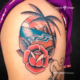 tatuaje sobre el mar, tatuaje de rosa, tattoo playa, donde tatuarme cdmx, infierno tatuajes