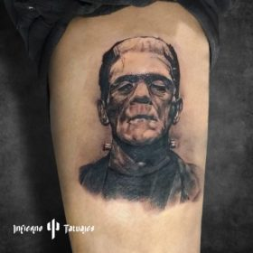 Tatuaje de Frankenstein en el antebrazo – Creado por Paula   Infierno Tatuajes
