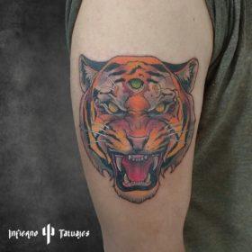Tatuaje de tigre en el brazo – Creado por Paula   Infierno Tatuajes