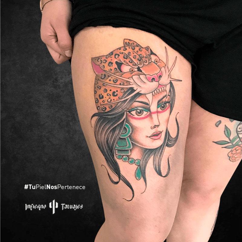 tatuaje de tigre, tatuaje cara de mujer, ideas de tatuajes en las piernas, donde hacerme un tattoo, infierno tatuajes cdmx