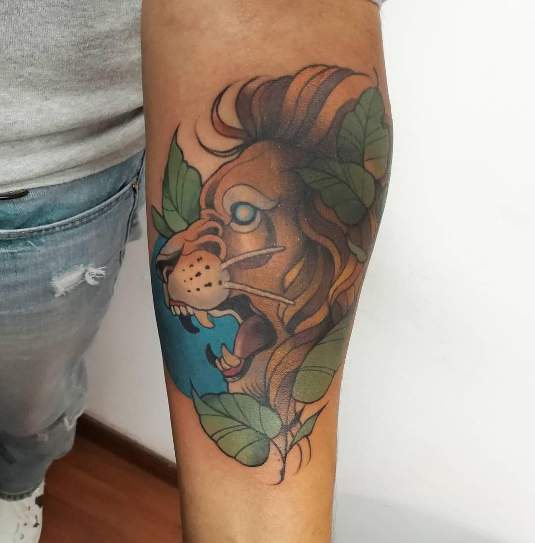 tatuajes de animales - leon
