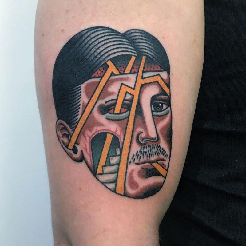 tatuaje de rostro minimalista infierno tatuajes