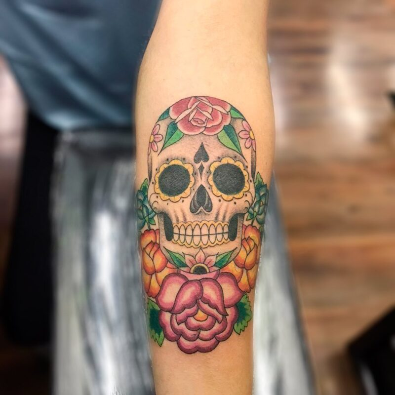 Tatuaje de cráneos de color