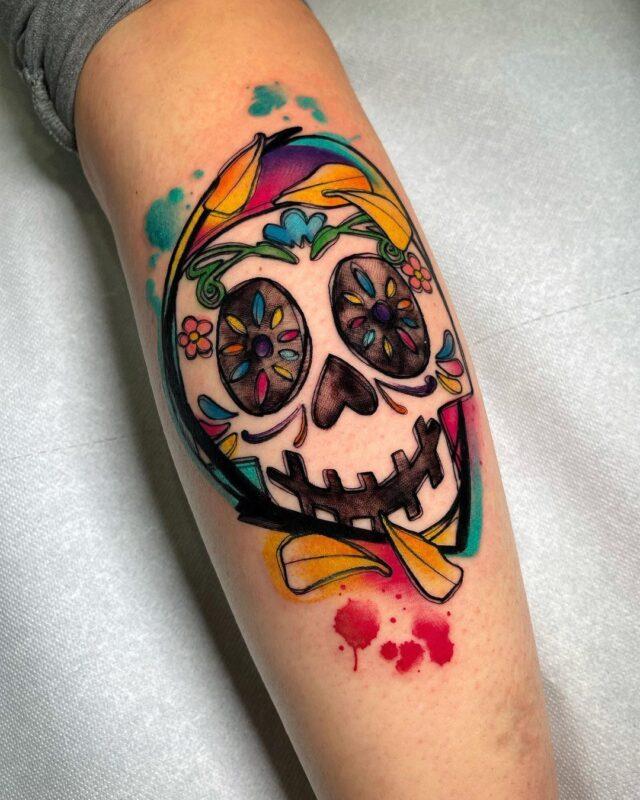 Tatuaje de calavera de azúcar