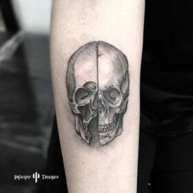 tatuaje de craneo en antebrazo, mejores tatuadores cdmx, mejor estudio de tattoos df, infierno tatuajes, idea de tatuaje para hombre