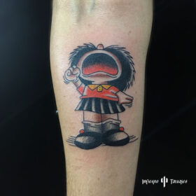 tatuaje de mafalda en antebrazo, mejores tatuadores, mejor estudio de tatuajes, idea de tatuaje para hombre