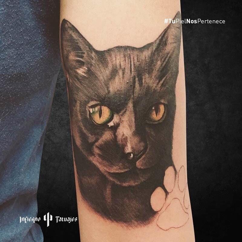 tatuaje de gato negro